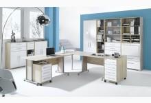 11tlg. Arbeits- & Bürozimmer Mod.MJ612 Sonoma Eiche - Weiß Hochglanz