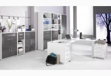 10tlg. Arbeits- & Bürozimmer Mod.MJ613 Weiß - Grau Hochglanz