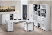 10tlg. Arbeits- & Bürozimmer Mod.MJ614 Icy Weiß - Weiß Hochglanz
