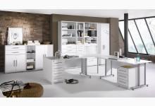 11tlg. Arbeits- & Bürozimmer Mod.MJ615 Icy Weiß - Weiß Hochglanz