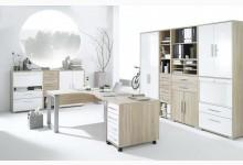 9tlg. Arbeits- & Bürozimmer Mod.MJ617 Sonoma Eiche - Weiß Hochglanz