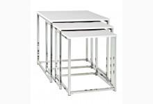 3-Satz-Tisch / Beistelltische Mod. 33383 Weiss Hochglanz