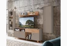 4tlg. Wohnzimmerset Mod.GM1100 Steingrau - Navarra Eiche