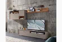 3tlg. Wohnzimmerset Mod.GM1101 Steingrau - Navarra Eiche