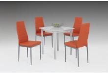 5tlg. Essgruppe Mod. H044 Weiss Hochglanz - Orange