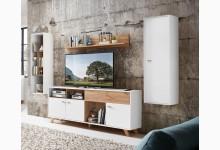 4tlg. Wohnzimmerset Mod.GM1156 Pinie Weiß - Navarra Eiche