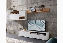 3tlg. Wohnzimmerset Mod.GM1157 Pinie Weiß - Navarra Eiche