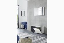 Schuhbank mit Spiegel Mod.GM1205 Weiß - Schwarz
