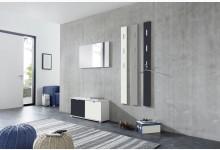 5tlg. Garderobenprogramm / Garderobenset Mod.GM1210 Weiß - Grau - Schwarz