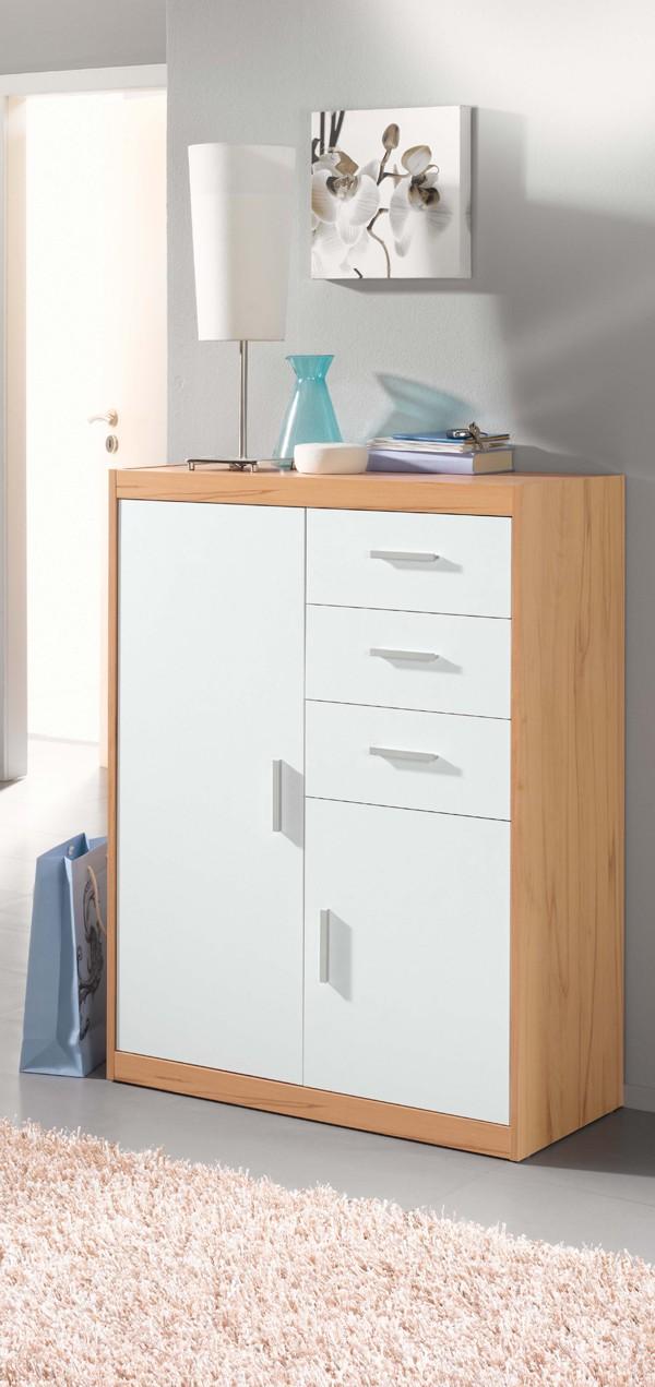 kommode schublade schrank kernbuche weiss h c m bel. Black Bedroom Furniture Sets. Home Design Ideas