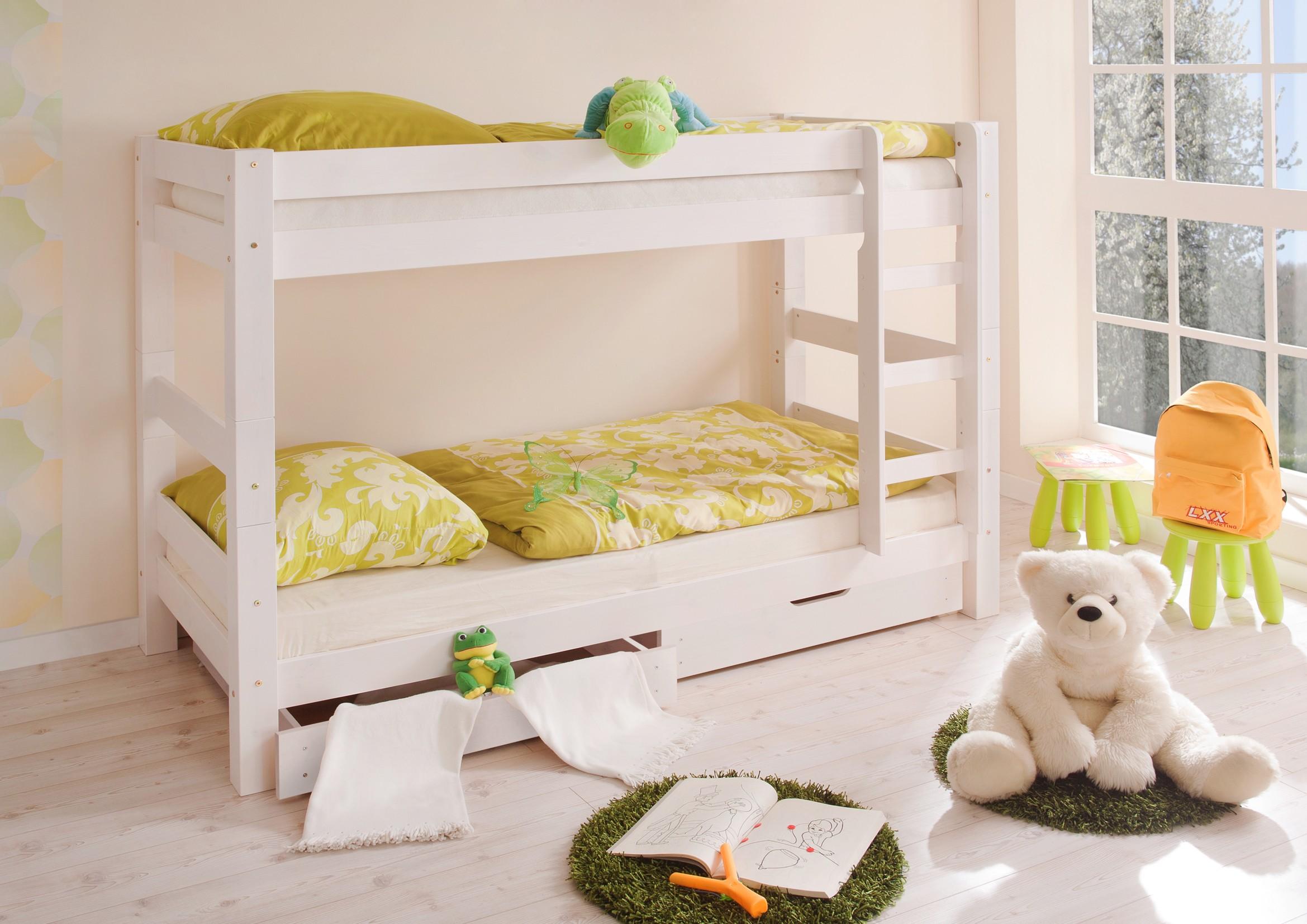 etagenbett kiefer massiv weiss h c m bel. Black Bedroom Furniture Sets. Home Design Ideas