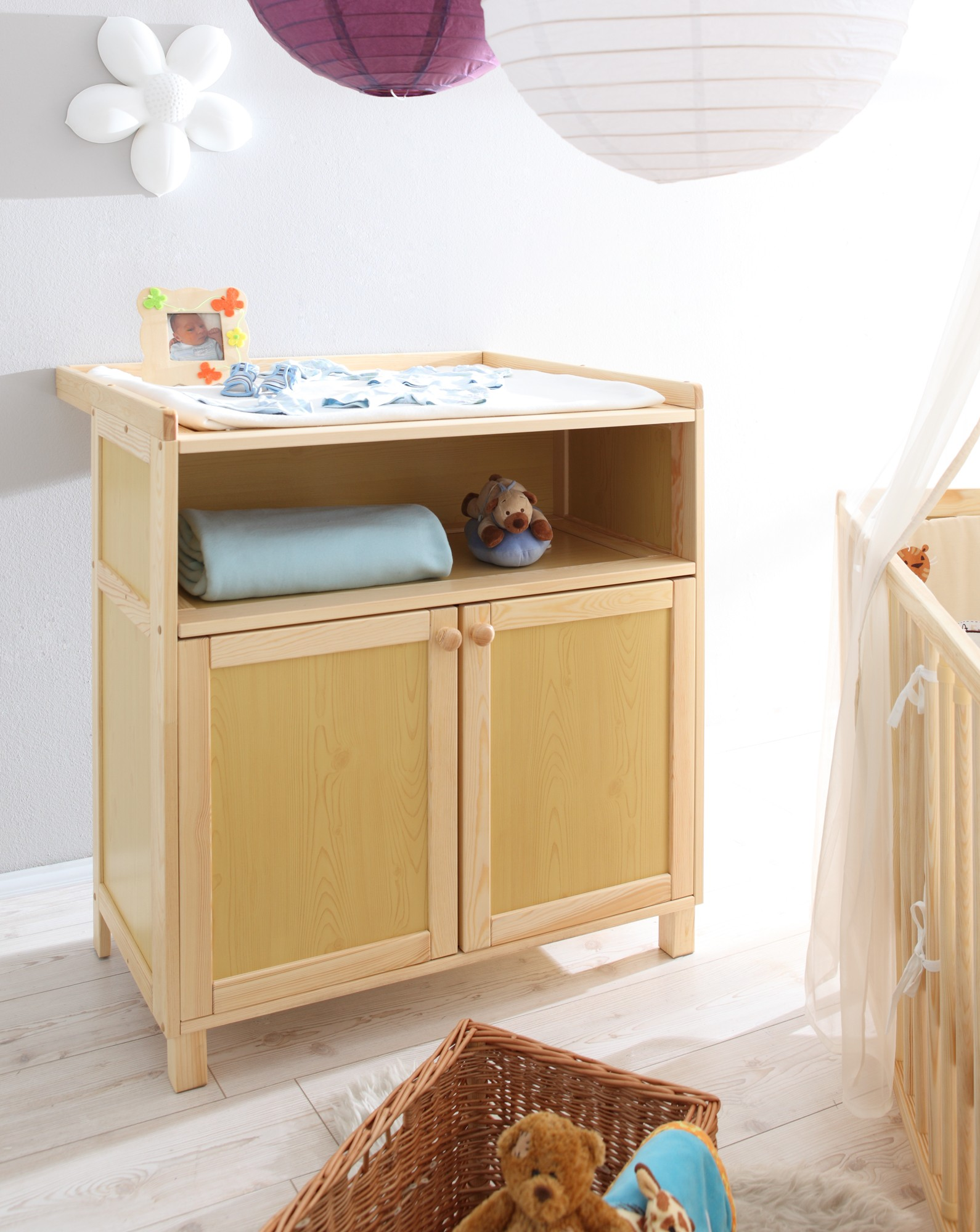 Babyzimmer möbel natur  Babyzimmer 2-teilig Mod.836229 Kiefer Natur - H&C Möbel