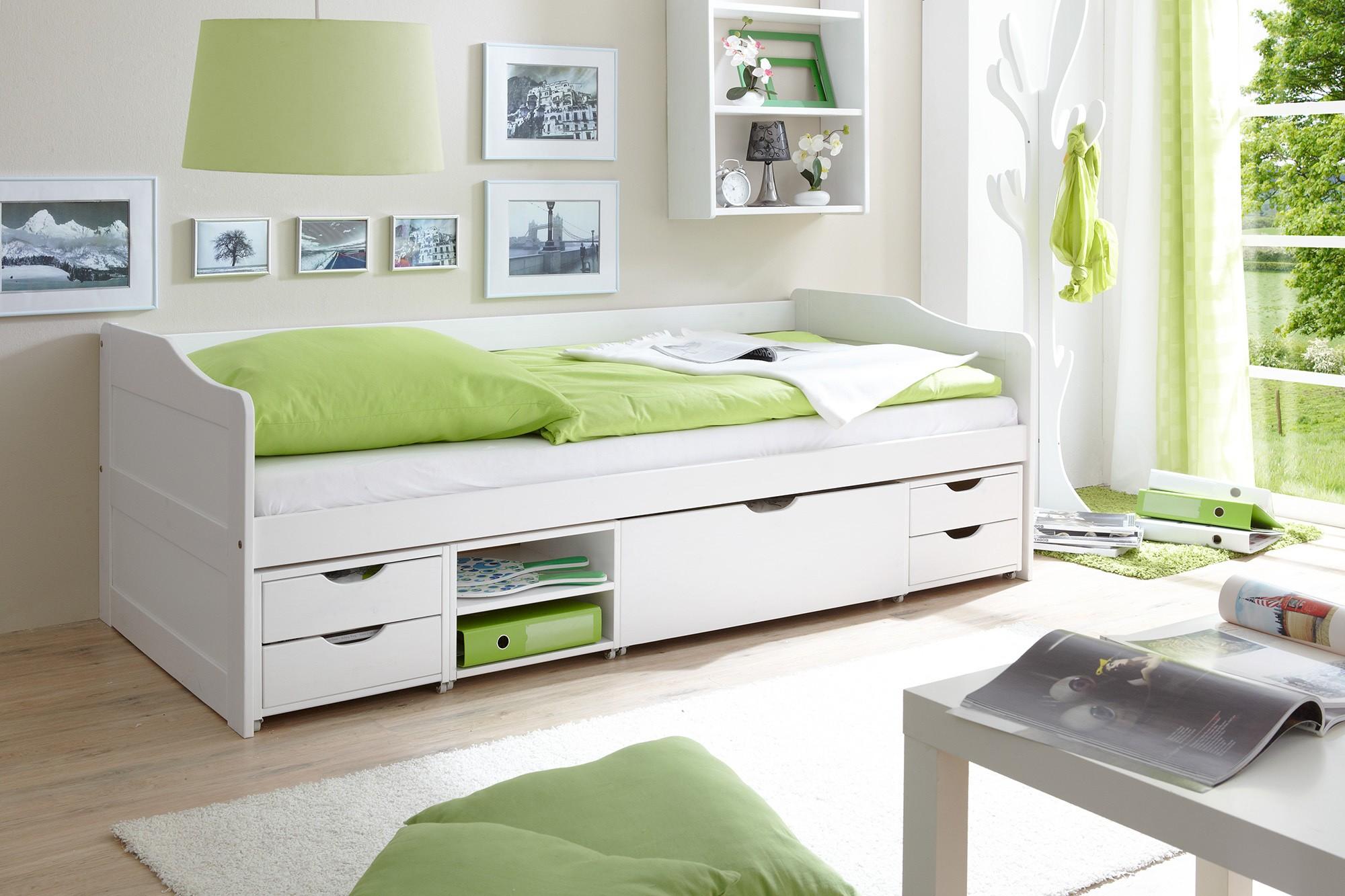 Sofabett mit 4 schubk sten kiefer weiss h c m bel for Funktionsbett jugendzimmer