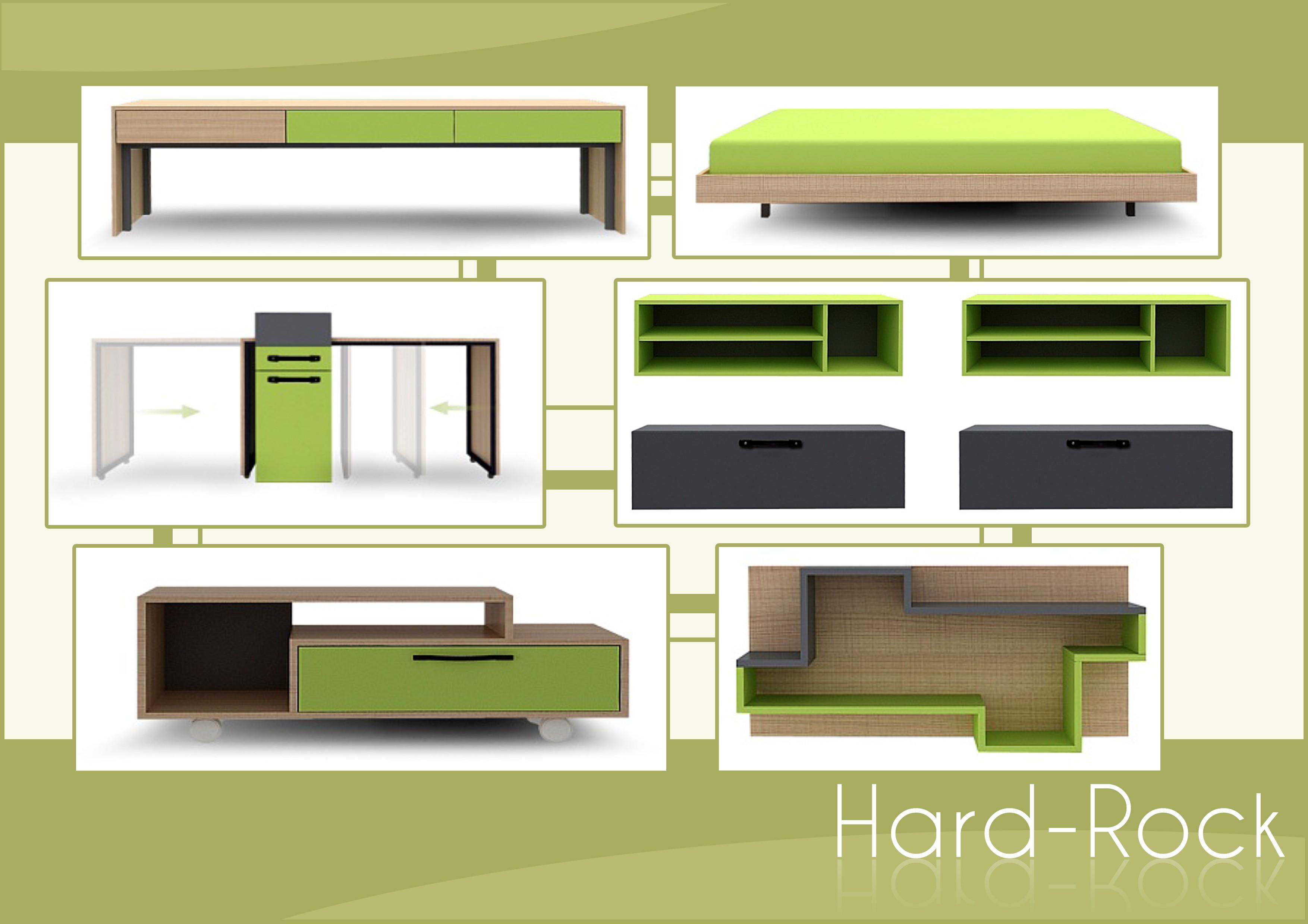 Jugendzimmer für jungs grün  Jugendzimmer Mod.855732 Grün - Anthrazit - Hellbraun - H&C Möbel