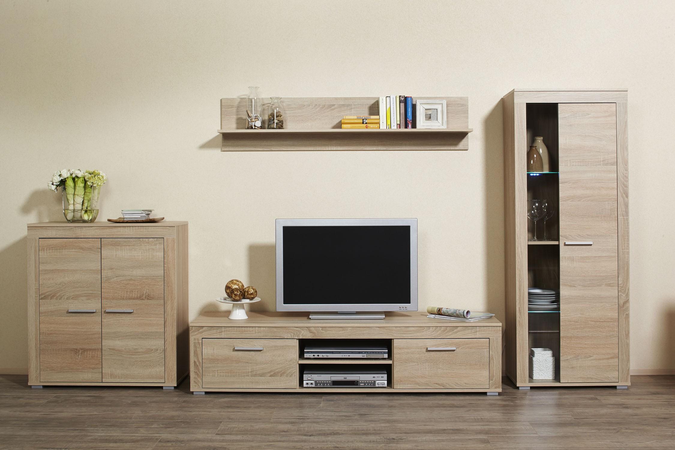 4tlg wohnwand anbauwand mod w038 es sonoma eiche s gerau h c m bel. Black Bedroom Furniture Sets. Home Design Ideas