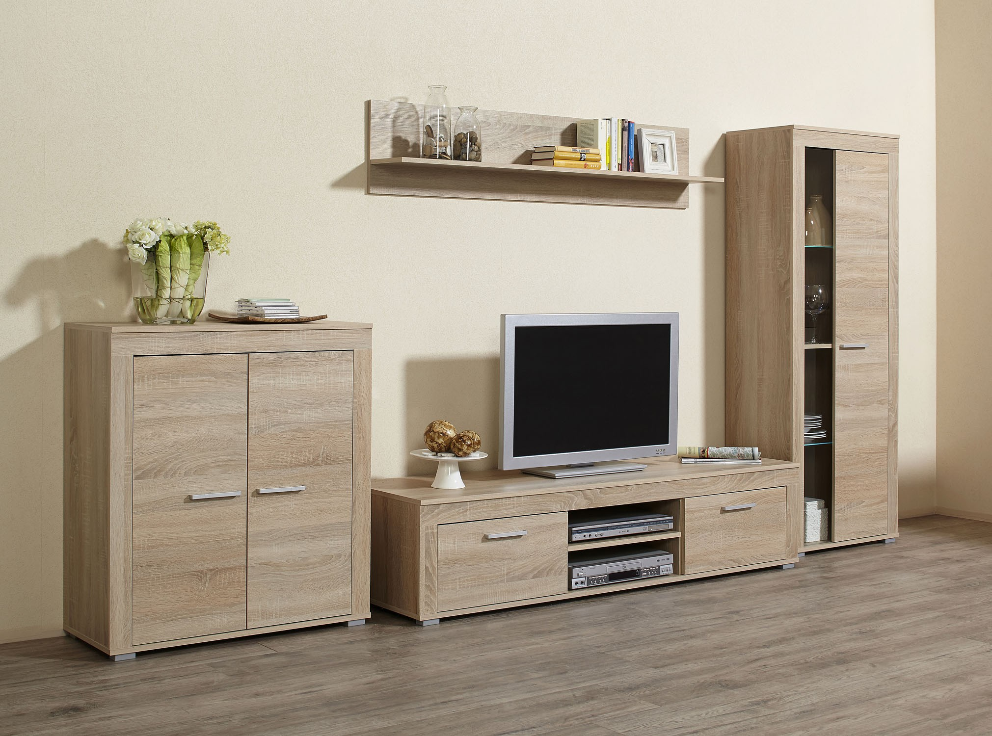 4tlg wohnwand anbauwand mod w038 es sonoma eiche s gerau h c m bel. Black Bedroom Furniture Sets. Home Design Ideas
