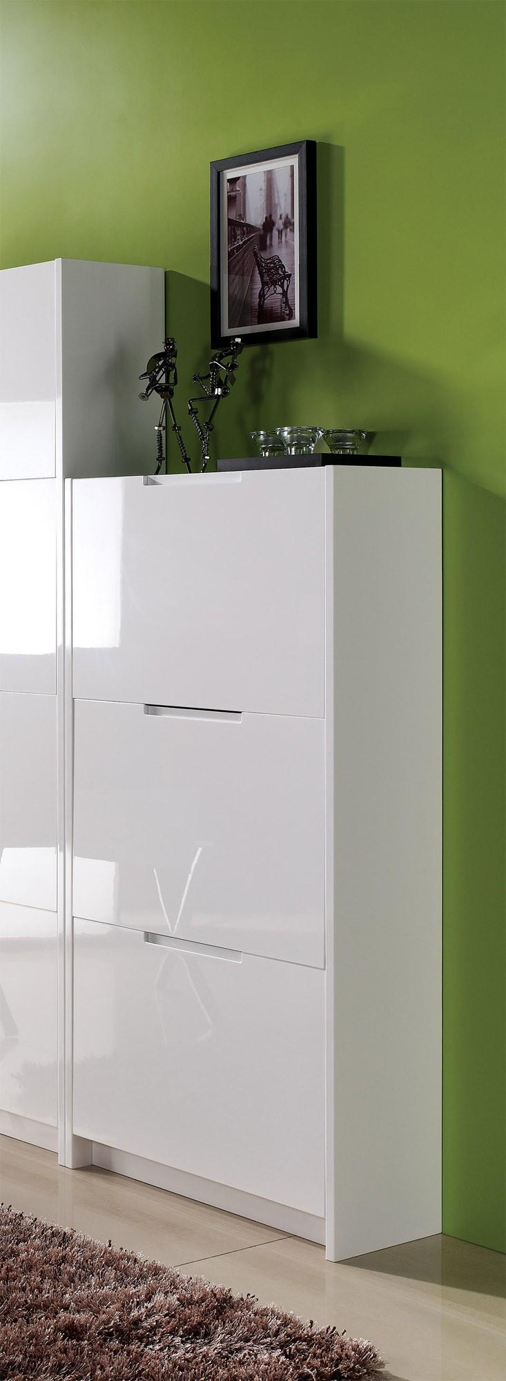 schuhschrank mod s565 3 weiss hochglanz h c m bel. Black Bedroom Furniture Sets. Home Design Ideas