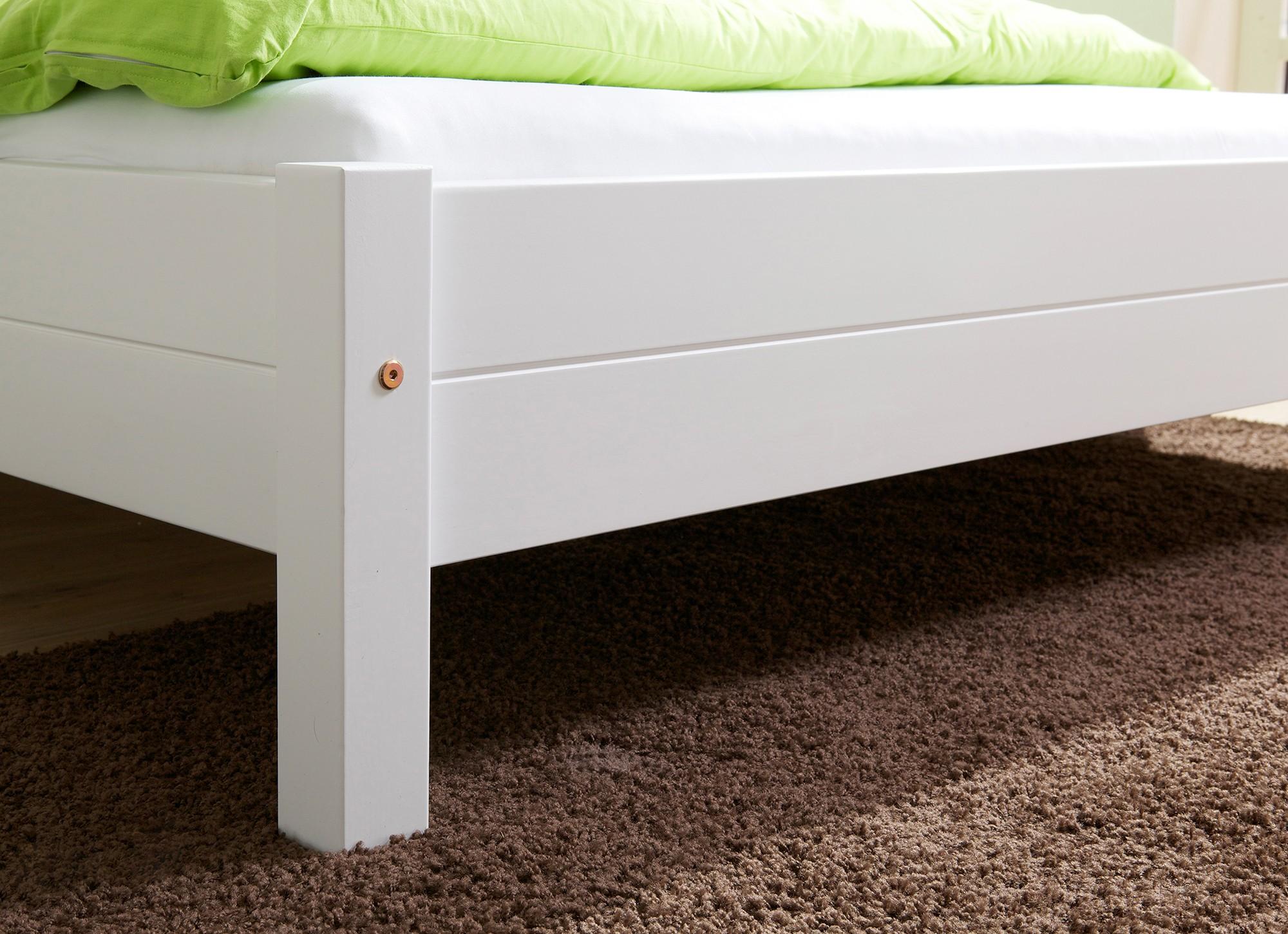 Einzelbett weiß  Einzelbett 90x200 Mod.877895 Kiefer Weiss - H&C Möbel