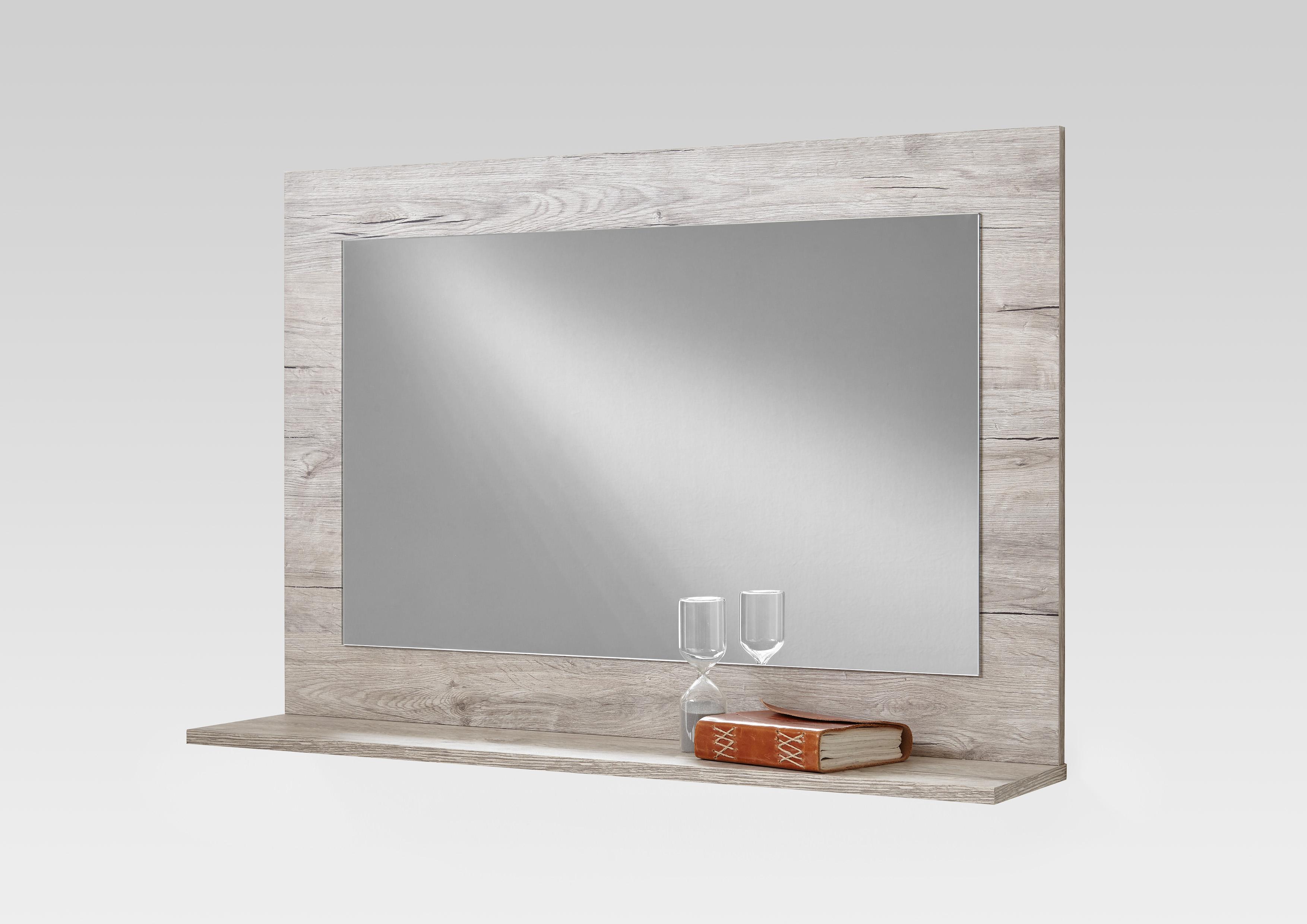 garderobenspiegel wandspiegel spiegel mit ablage f4002 004 sandeiche beton ebay. Black Bedroom Furniture Sets. Home Design Ideas