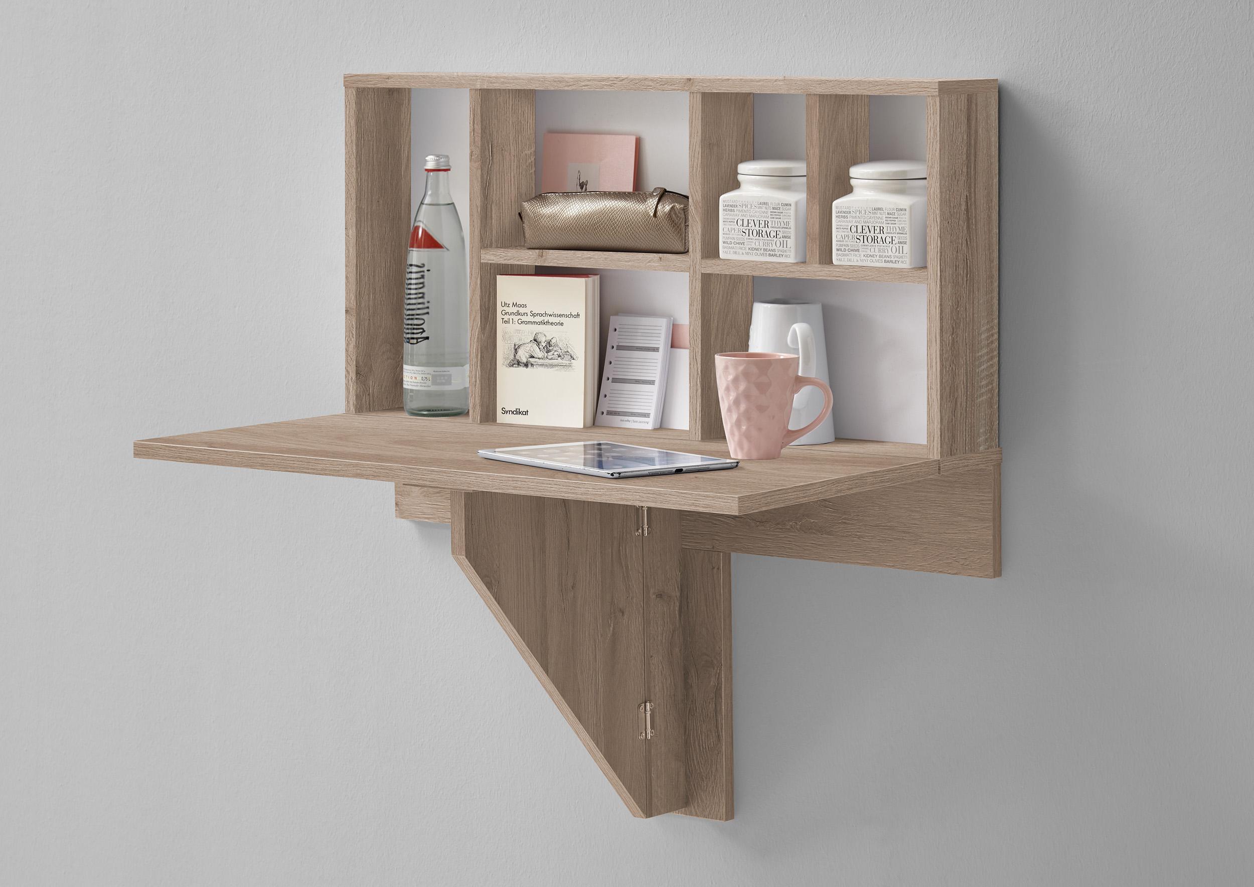 klapptisch mit regal ablage k chentisch esstisch wandregal f658 001 eiche wei ebay. Black Bedroom Furniture Sets. Home Design Ideas