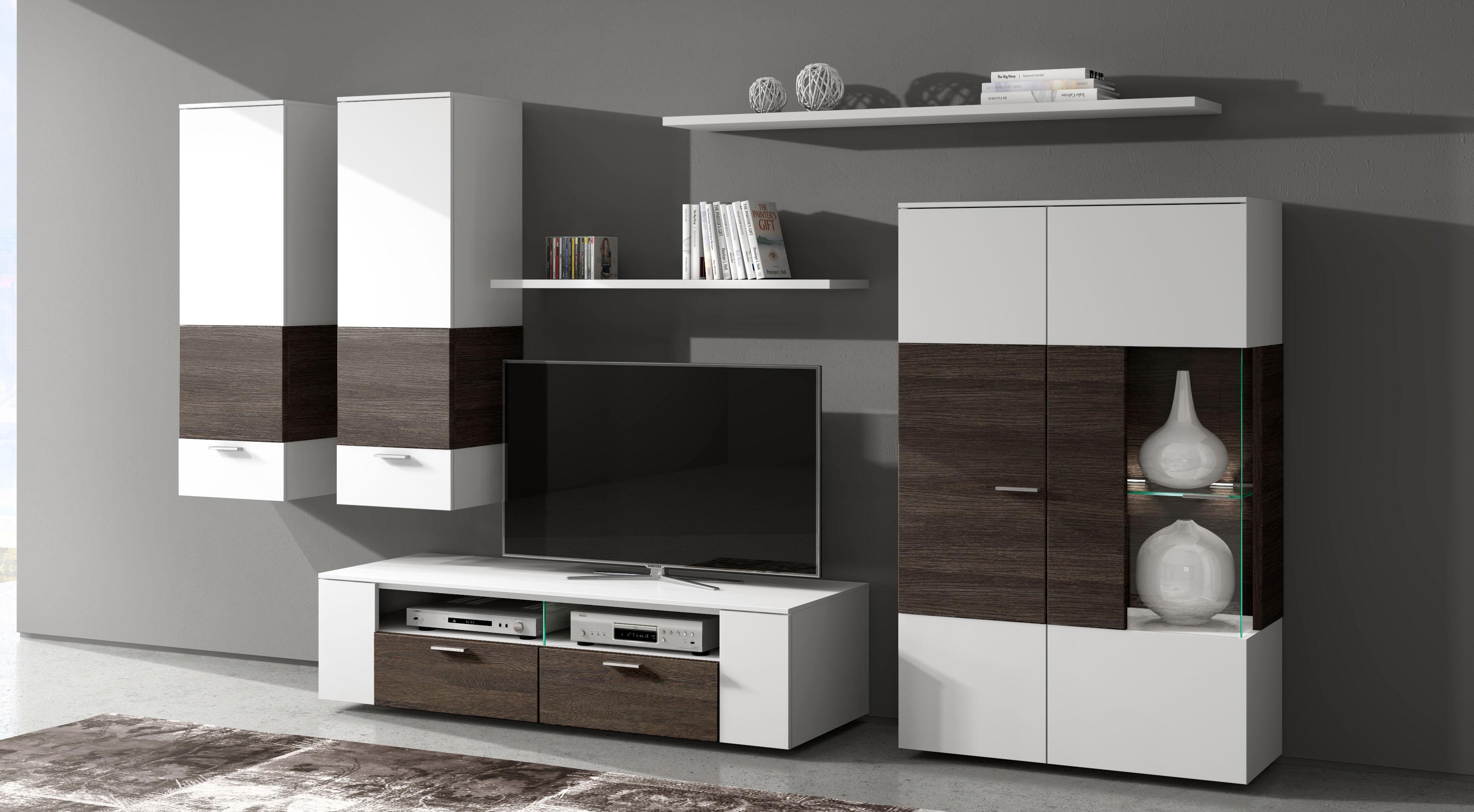 Wunderbar Wohnwand Anbauwand Wohnzimmerset Vitrine Lowboard Schirazz Weiß |  EBay