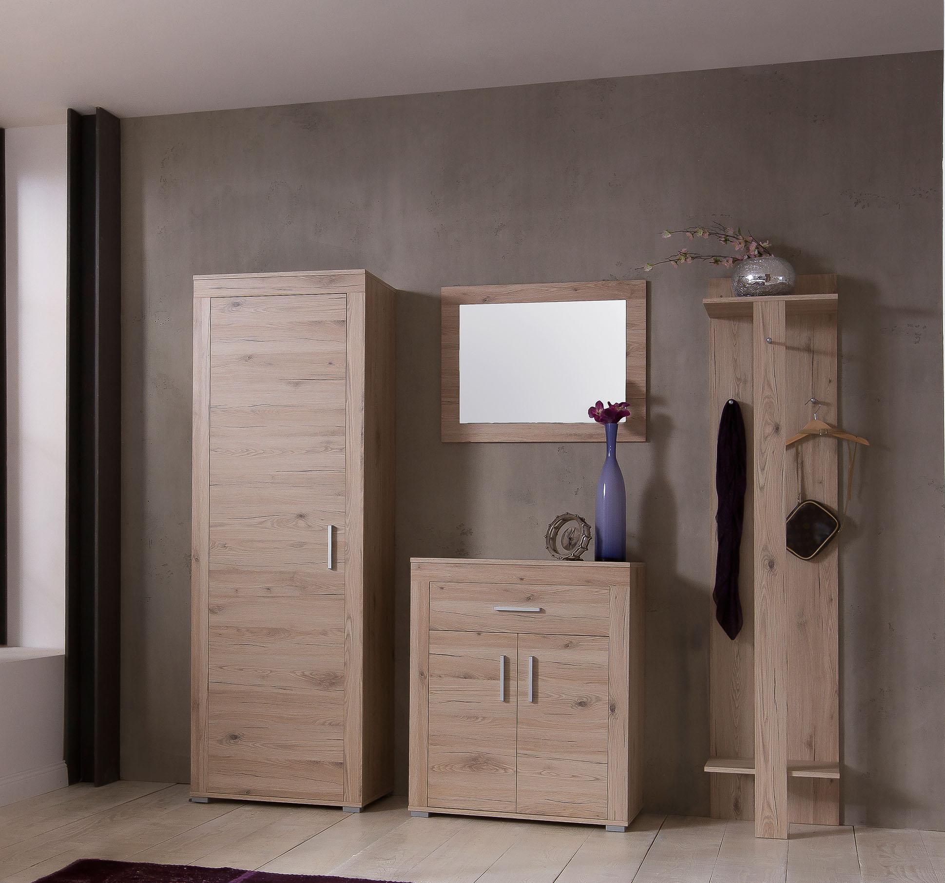 4tlg flurset garderobenset schuhschrank garderobenschrank spiegel weiss eiche ebay. Black Bedroom Furniture Sets. Home Design Ideas