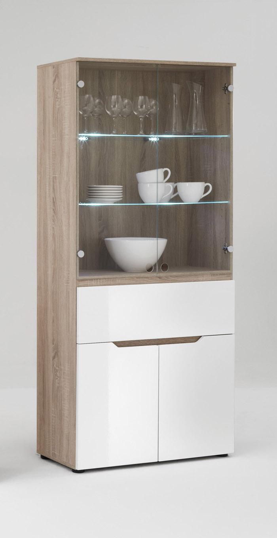 vitrine glasvitrine vitrinenschrank schrank design v756 eiche wei hochglanz ebay. Black Bedroom Furniture Sets. Home Design Ideas