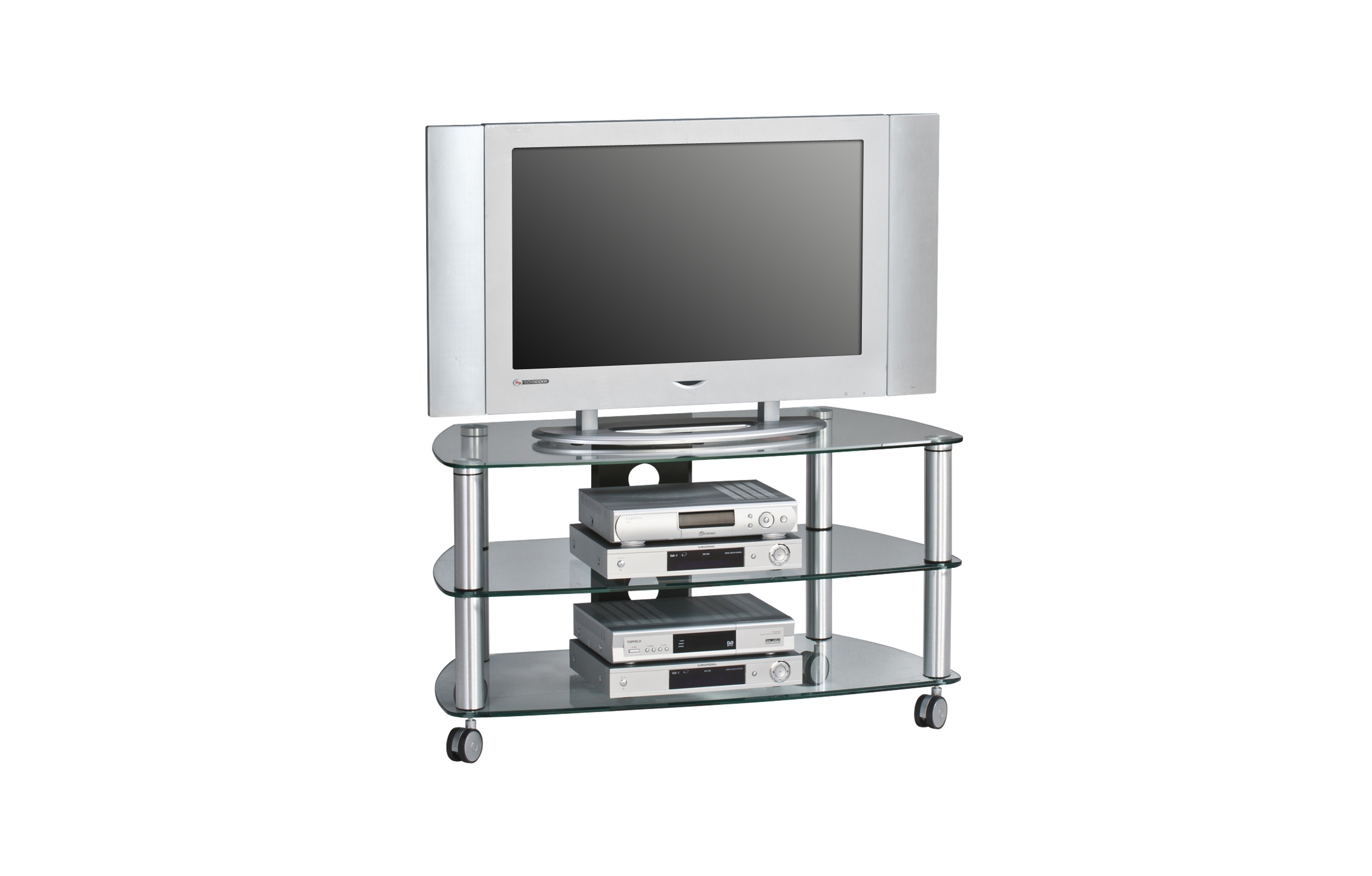 tv rack tv board glastisch ablage desgin tv wagen videowagen mj038 metall alu ebay. Black Bedroom Furniture Sets. Home Design Ideas