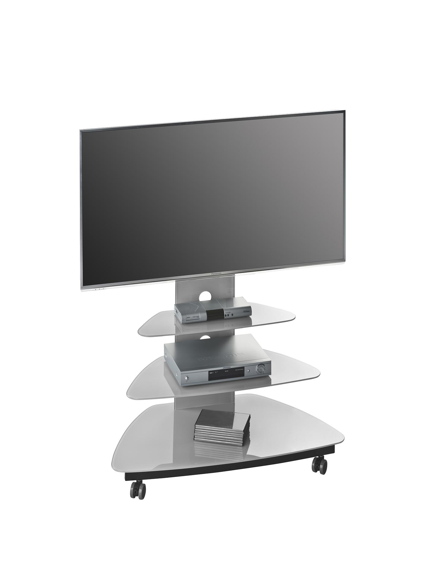 tv rack board ablage glastisch design mod mj047 metall schwarz glas platingrau ebay. Black Bedroom Furniture Sets. Home Design Ideas