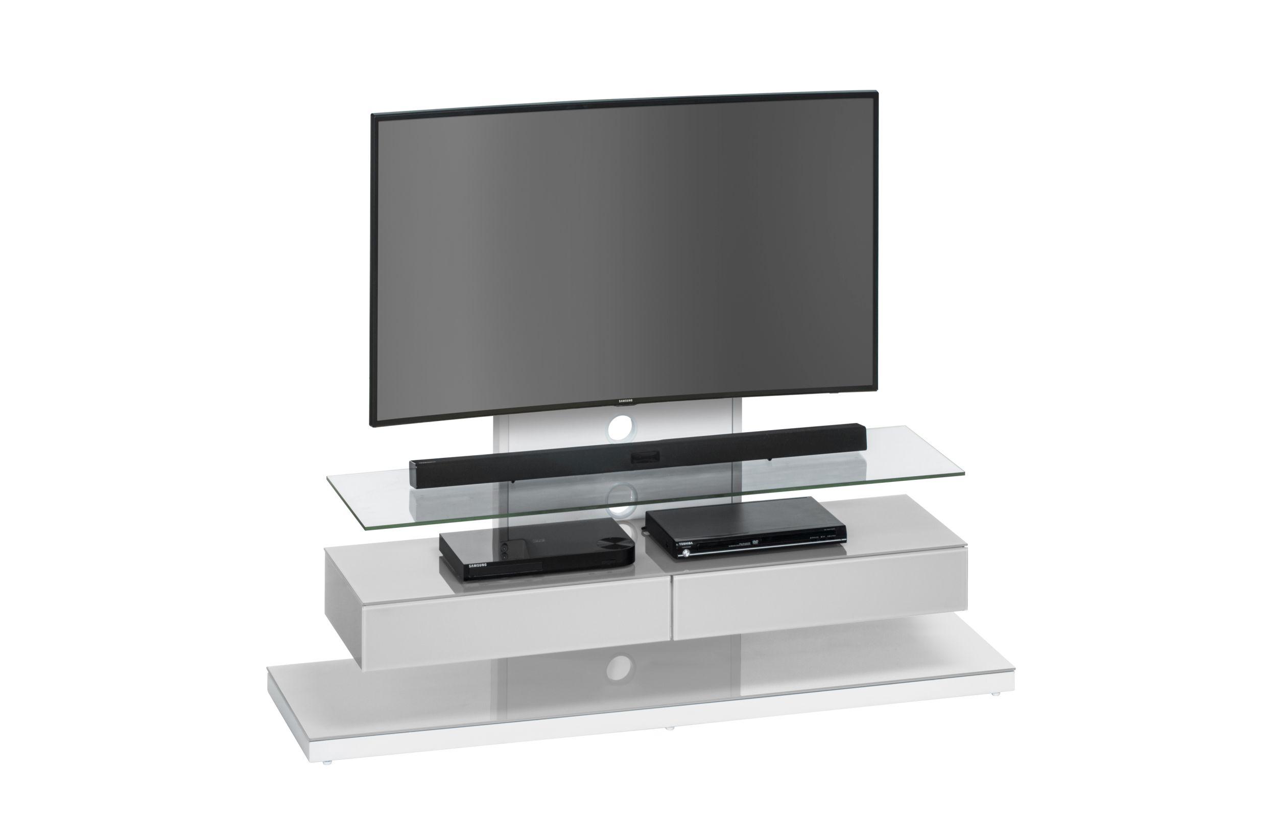 TV-Rack Hifi Ablage Glas Design Mod.MJ082 Metall Weiß