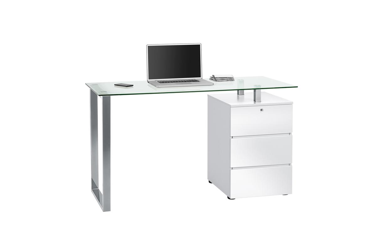 schreibtisch computertisch b rotisch glas mod mj086 metall chrom wei hochglanz ebay. Black Bedroom Furniture Sets. Home Design Ideas