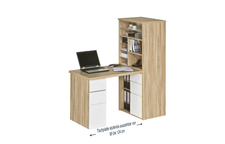 minioffice raumteiler schreibtisch regal mod mj088 eiche natur wei hochglanz ebay. Black Bedroom Furniture Sets. Home Design Ideas