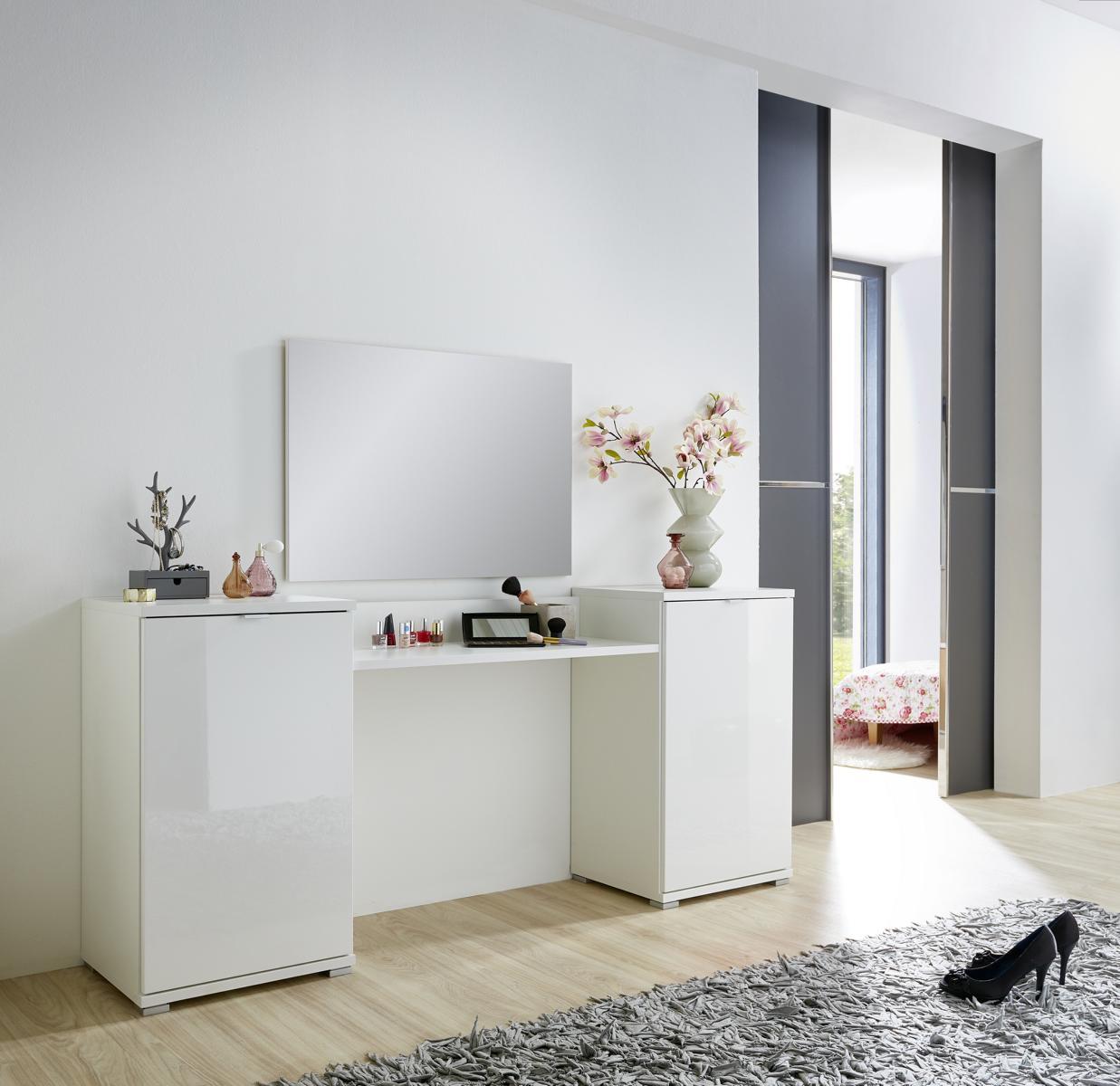 4 tlg schminkplatz schminktisch kosmetiktisch set mod gm852 weiss hochglanz ebay. Black Bedroom Furniture Sets. Home Design Ideas