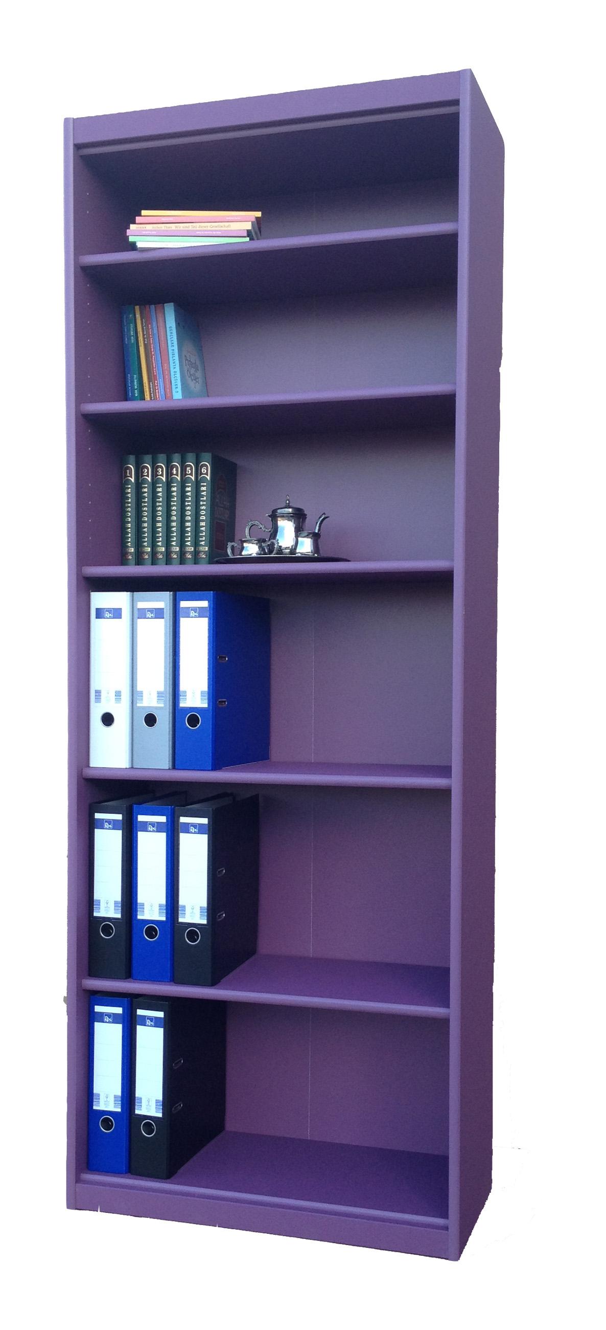 b cherregal aktenregal regal b roregal b rom bel ordner anthrazit lila gelb ebay. Black Bedroom Furniture Sets. Home Design Ideas