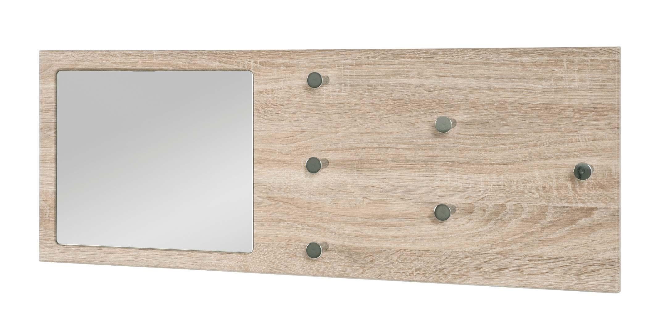 wandgarderobe garderobenpaneel garderobe mit spiegel h nge weiss eiche tr ffel ebay. Black Bedroom Furniture Sets. Home Design Ideas