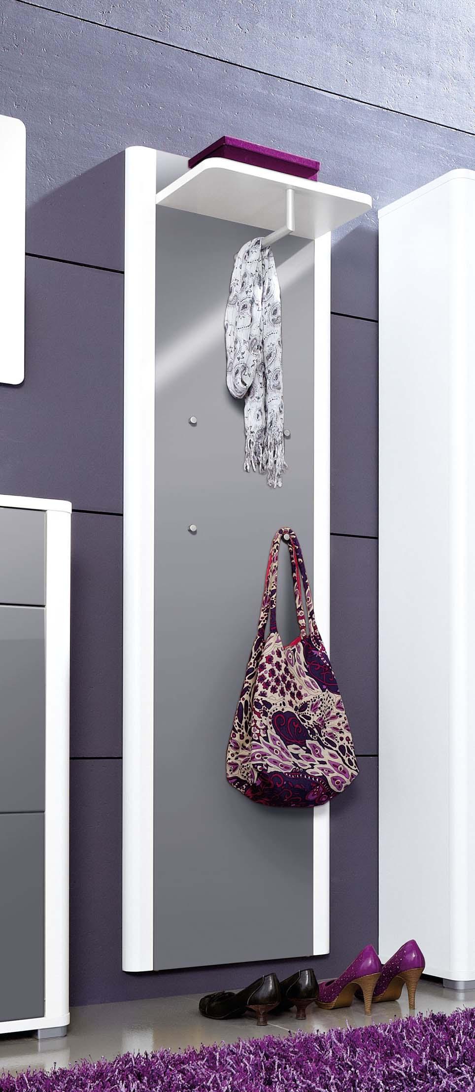 wandgarderobe garderobenpaneel flurgarderobe sonoma eiche weiss grau hochglanz ebay. Black Bedroom Furniture Sets. Home Design Ideas