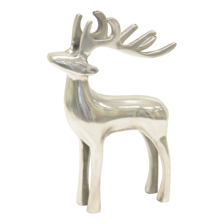 Dekofigur Hirsch Skulptur Hirschfigur Aluminium Poliert