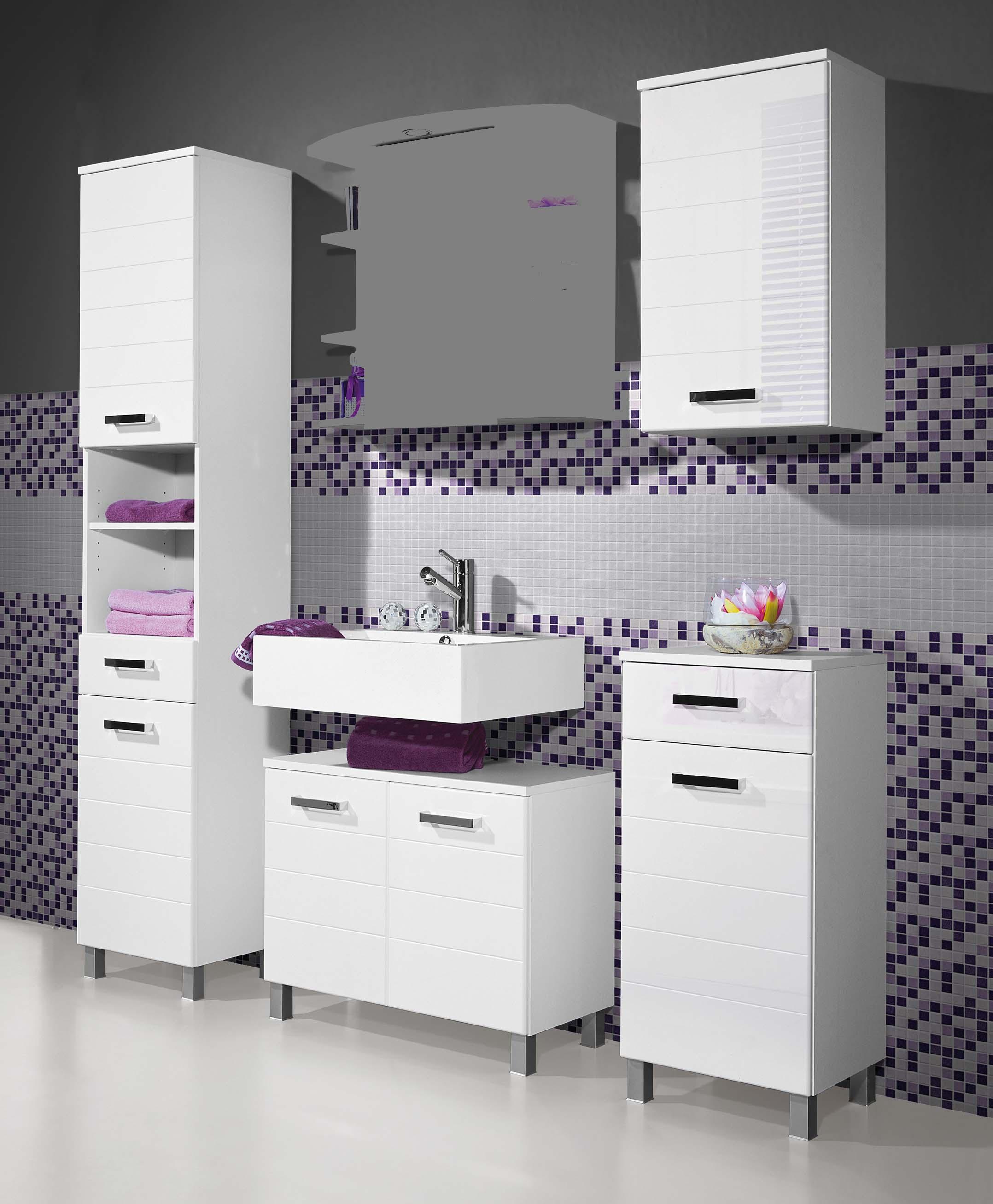 badezimmerm bel badm bel set weiss mdf hochglanz mit spiegelschrank unterschrank ebay. Black Bedroom Furniture Sets. Home Design Ideas