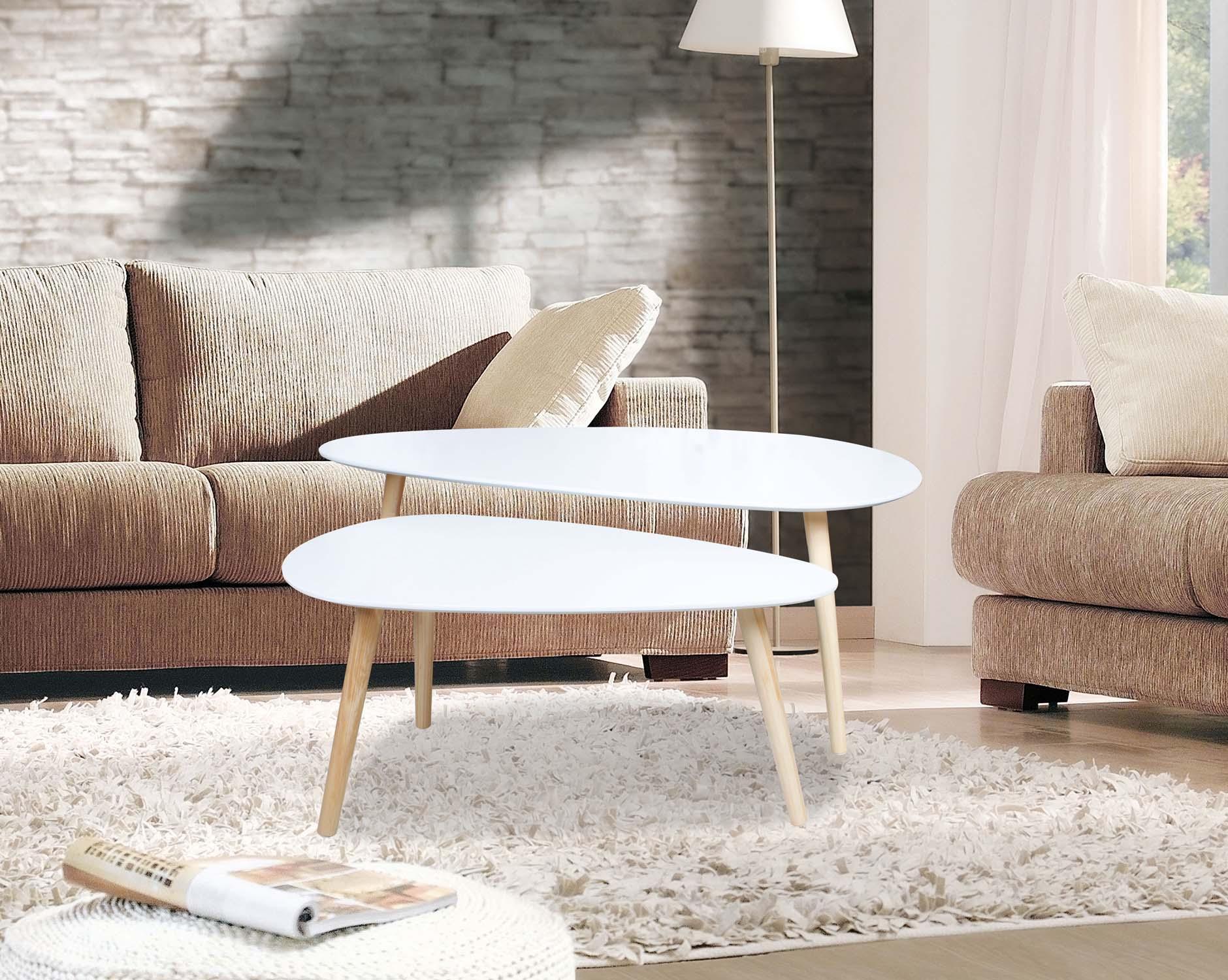 couchtisch beistelltisch 2er set loungetisch 2 satztisch t190 weiss mdf lackiert. Black Bedroom Furniture Sets. Home Design Ideas