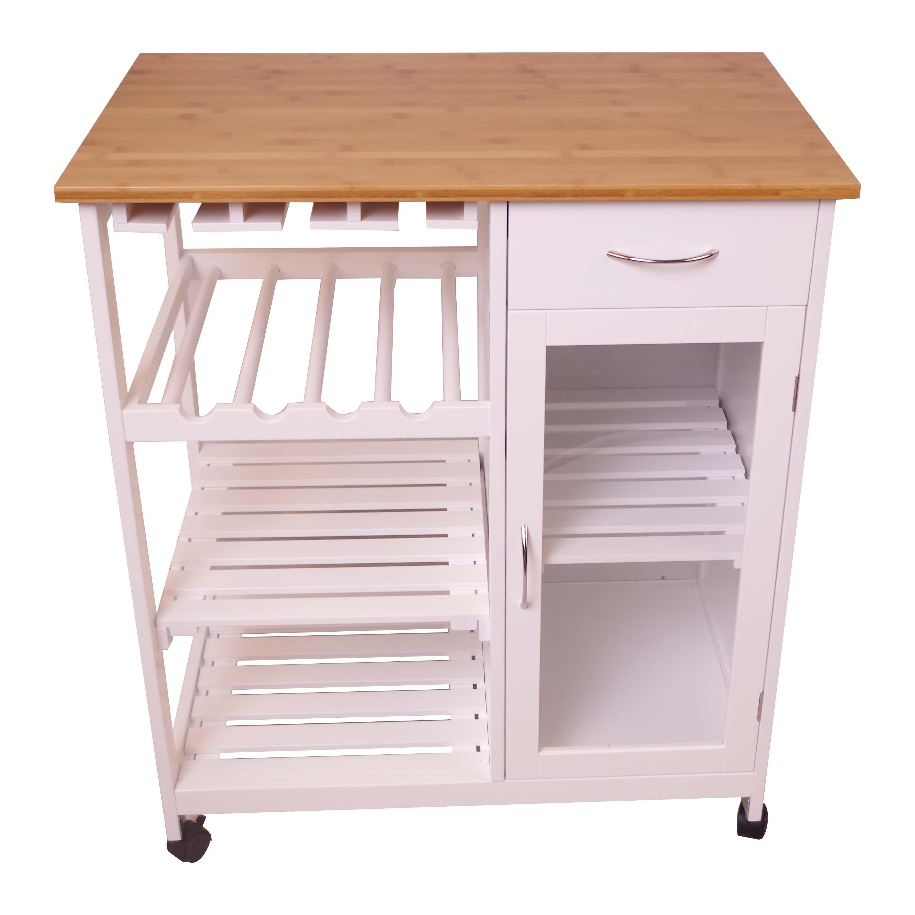 k chenwagen k chenhelfer rollwagen beistellwagen k che rw492 weiss bambus ebay. Black Bedroom Furniture Sets. Home Design Ideas