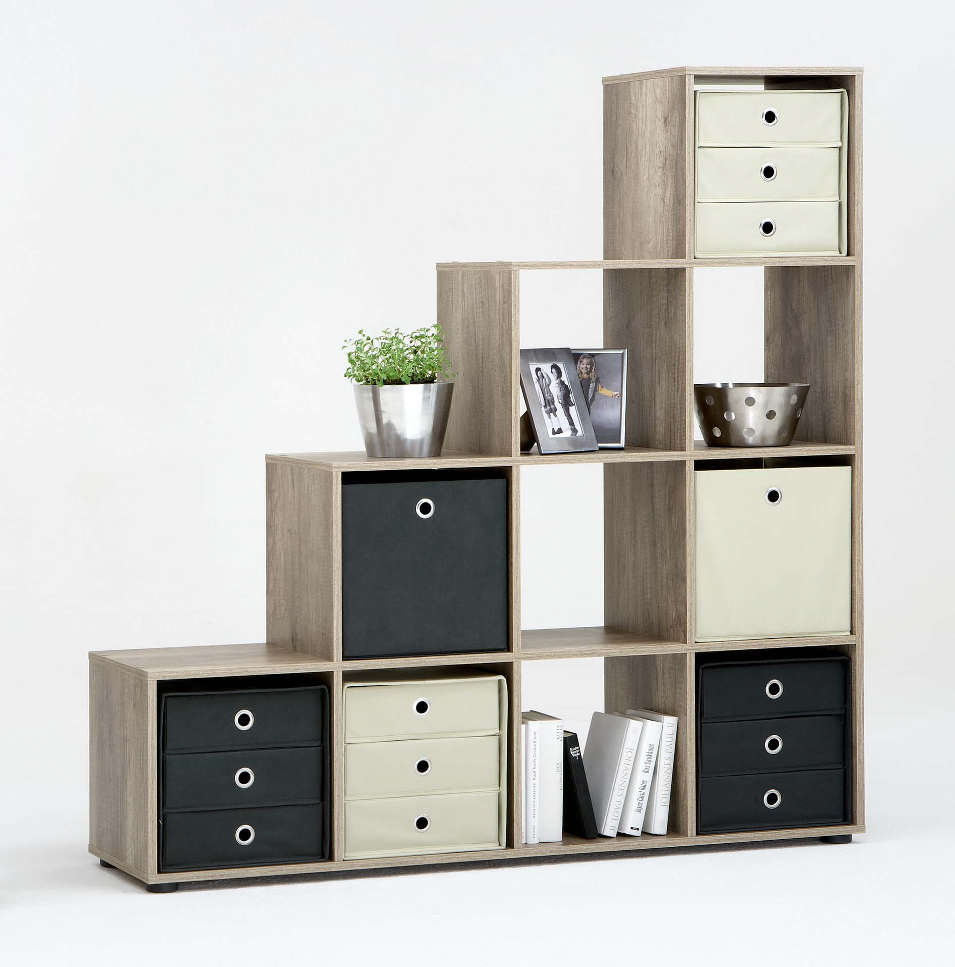 raumteiler stufenregal treppenregal aktenregal regal nussbaum wildeiche r509 ebay. Black Bedroom Furniture Sets. Home Design Ideas