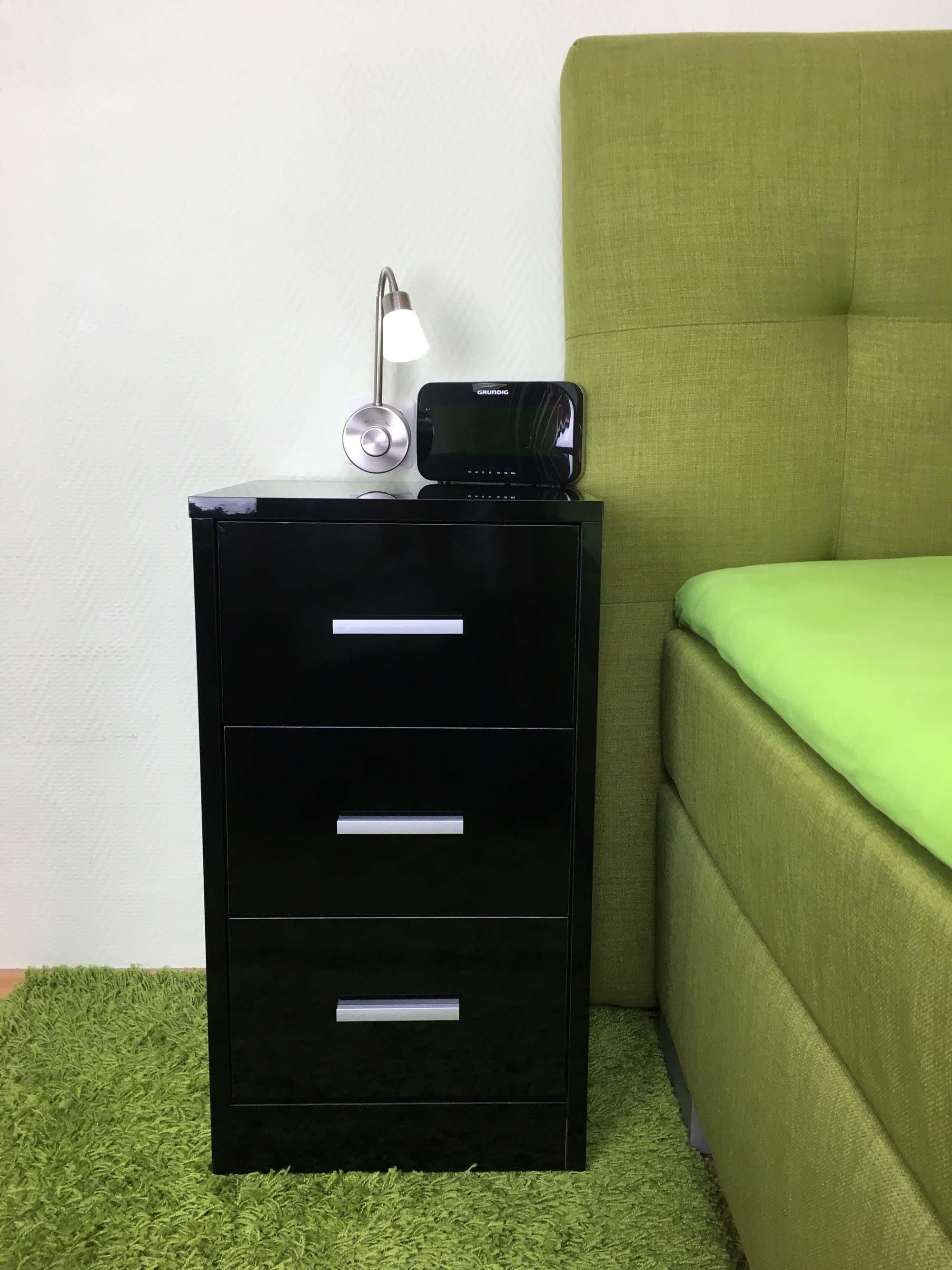 nachtkommode boxspringbett nachttisch nachtkonsole 3schub wei schwarz hochglanz ebay. Black Bedroom Furniture Sets. Home Design Ideas