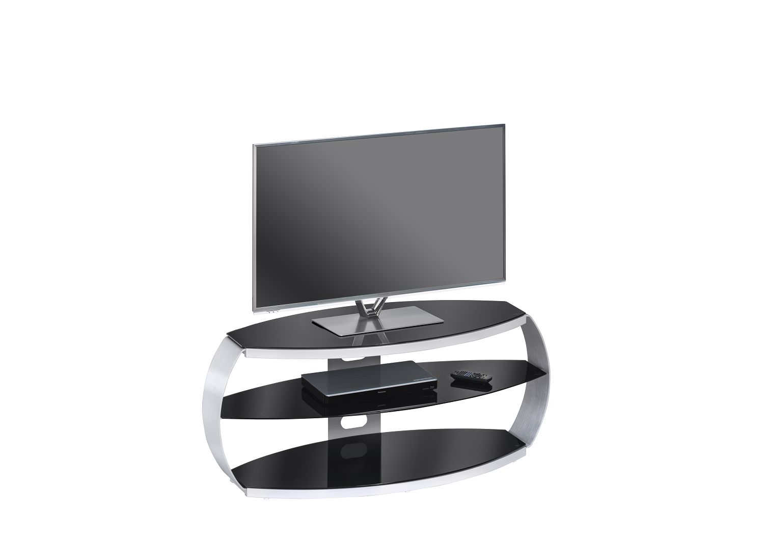 tv rack tv board tv ablage glastisch glas mod mj100 metall alu schwarzglas ebay. Black Bedroom Furniture Sets. Home Design Ideas