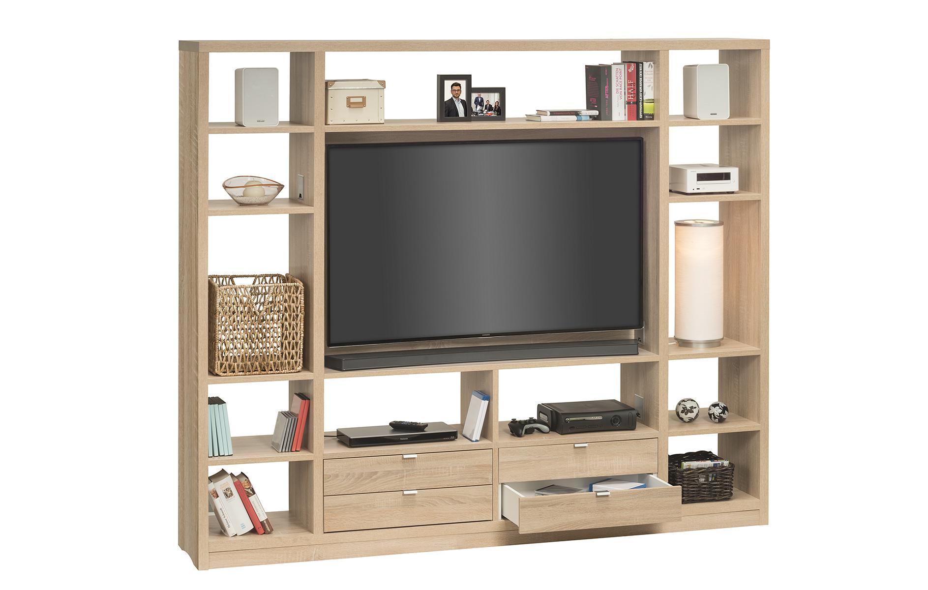 raumteiler mit cableboard regal standregal tv regal mod mj165 sonoma eiche ebay. Black Bedroom Furniture Sets. Home Design Ideas