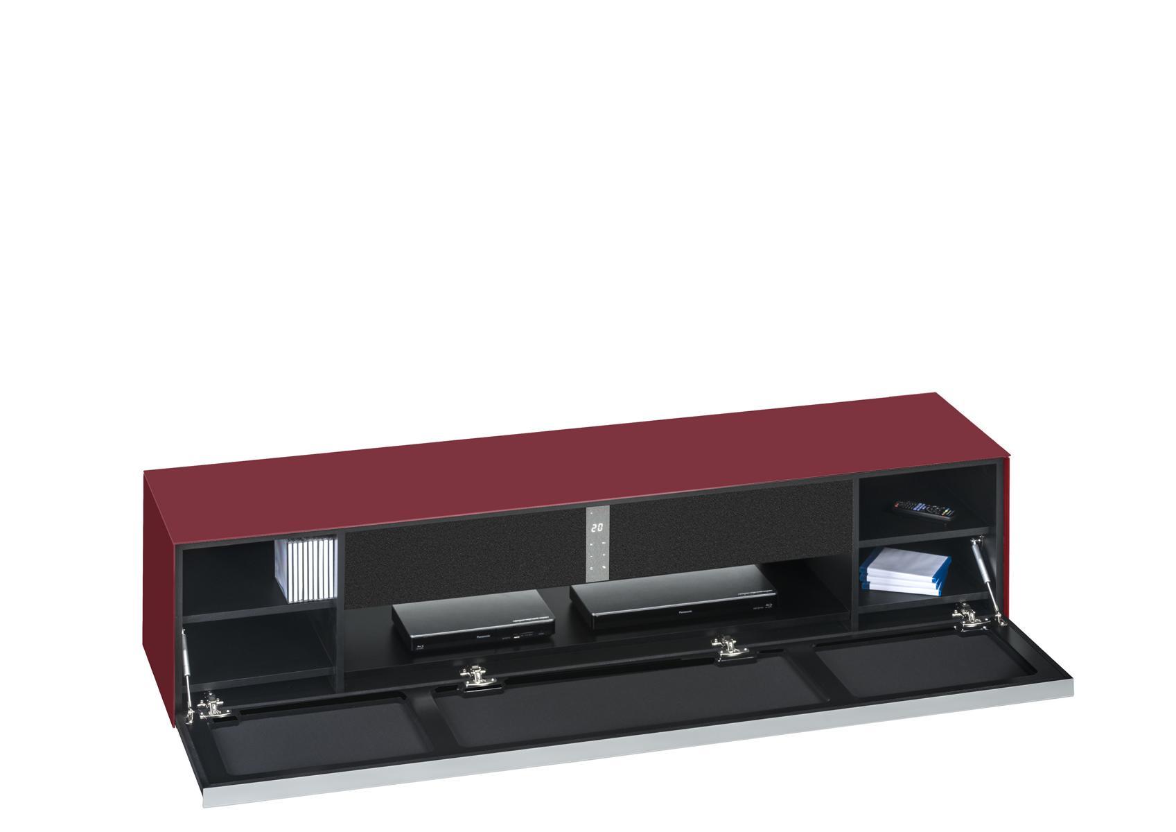 tv soundboard lowboard unterschrank soundsystem mod mj360 rotglas schwarz ebay. Black Bedroom Furniture Sets. Home Design Ideas
