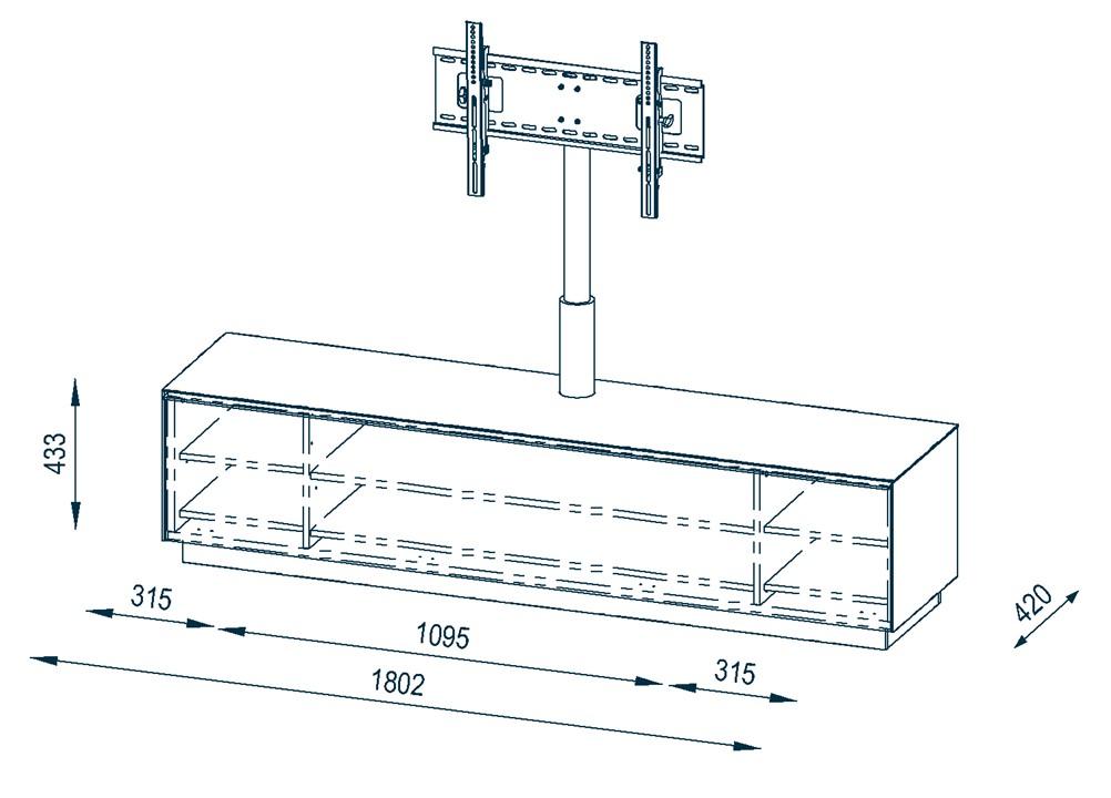 tv soundboard lowboard mit tv halterung ablage mod mj363 sandglas schwarz ebay. Black Bedroom Furniture Sets. Home Design Ideas