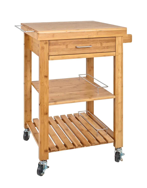 k chenwagen servierwagen massivholz bambus schneidebrett natur ebay. Black Bedroom Furniture Sets. Home Design Ideas