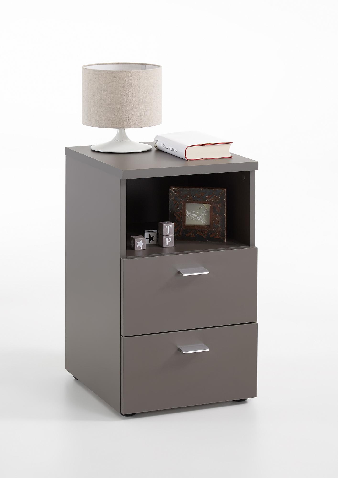 nachtkonsole nachtkommode nachttisch kommode 2 schubladen ebay. Black Bedroom Furniture Sets. Home Design Ideas