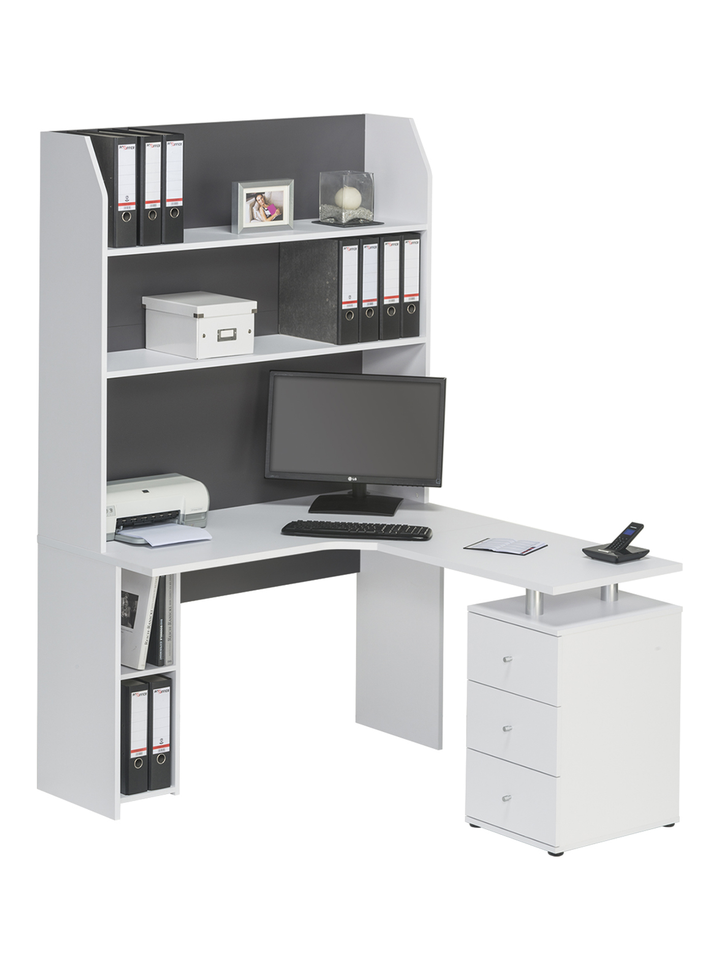 minioffice schreibtisch regal kombination mod mj133 icy. Black Bedroom Furniture Sets. Home Design Ideas