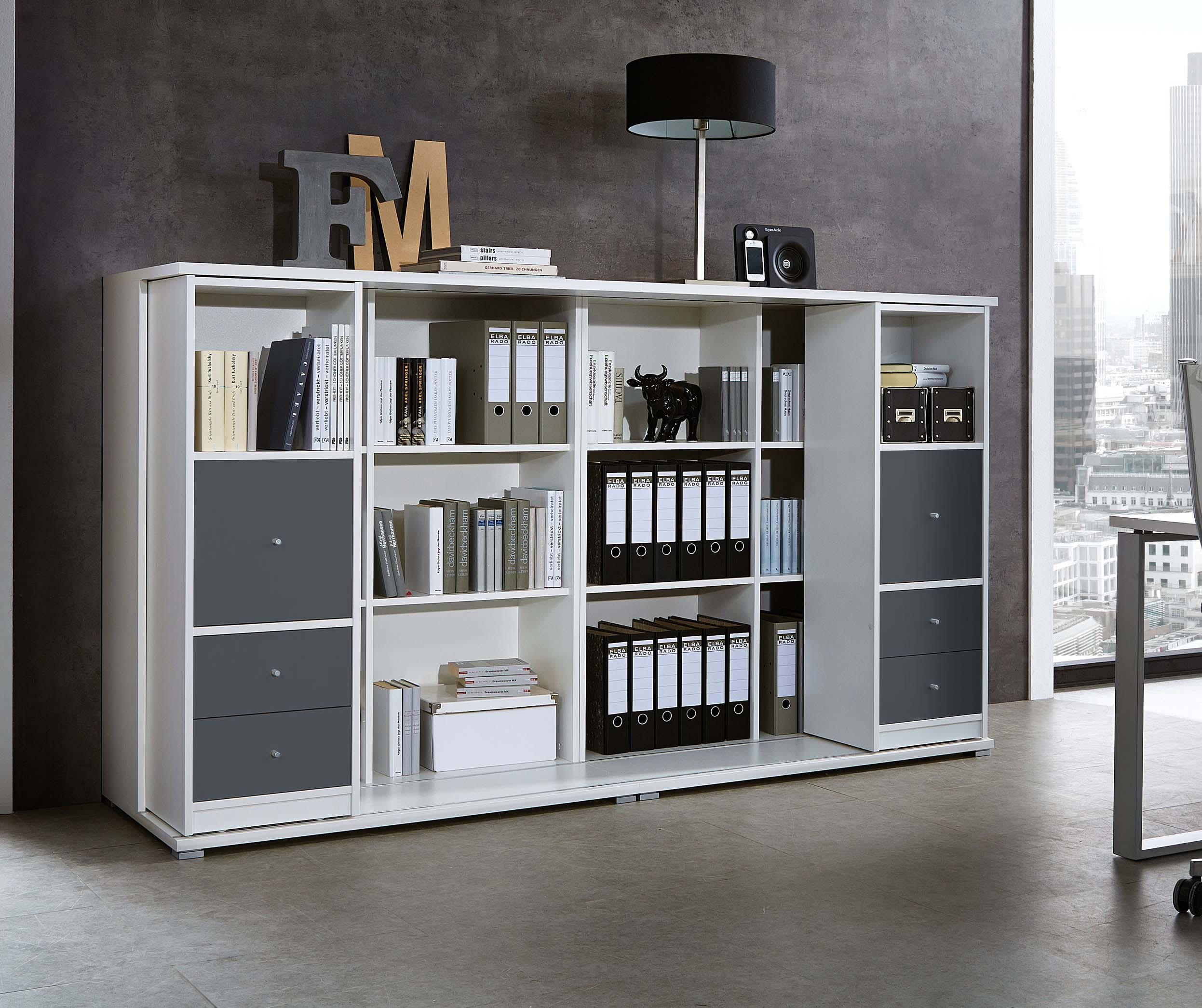 schieberegal aktenregal mehrzweckregal b cherregal regal b rom bel wei r514 ebay. Black Bedroom Furniture Sets. Home Design Ideas